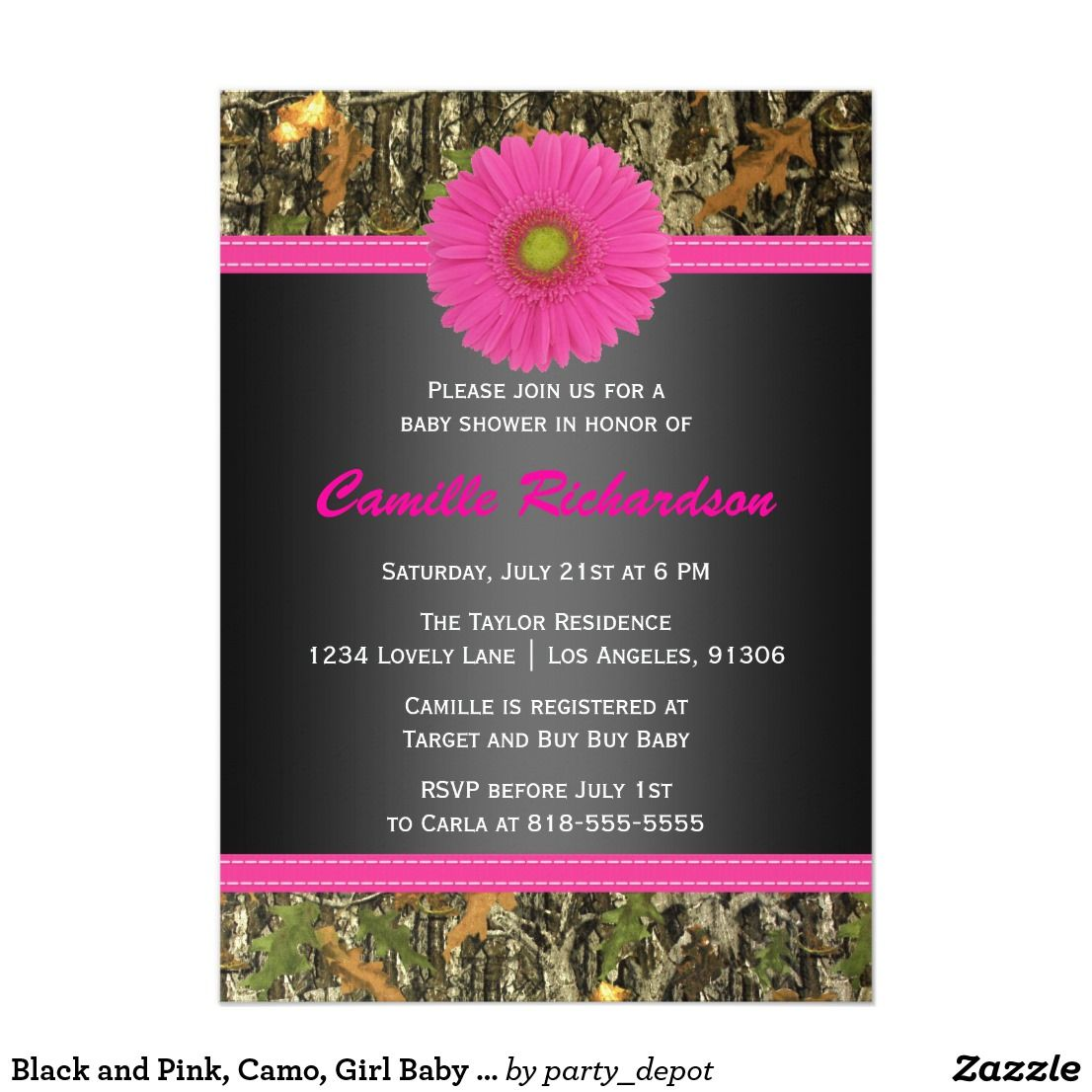 Black and Pink, Camo, Girl Baby Shower Invitation If you need custom ...