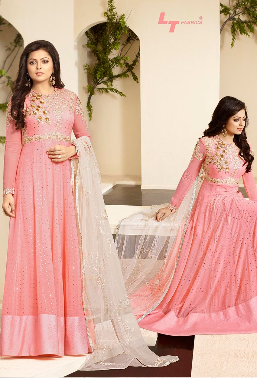 Madhubala In #Peach #Georgette Foil #Anarkali #Suit #nikvik #usa ...