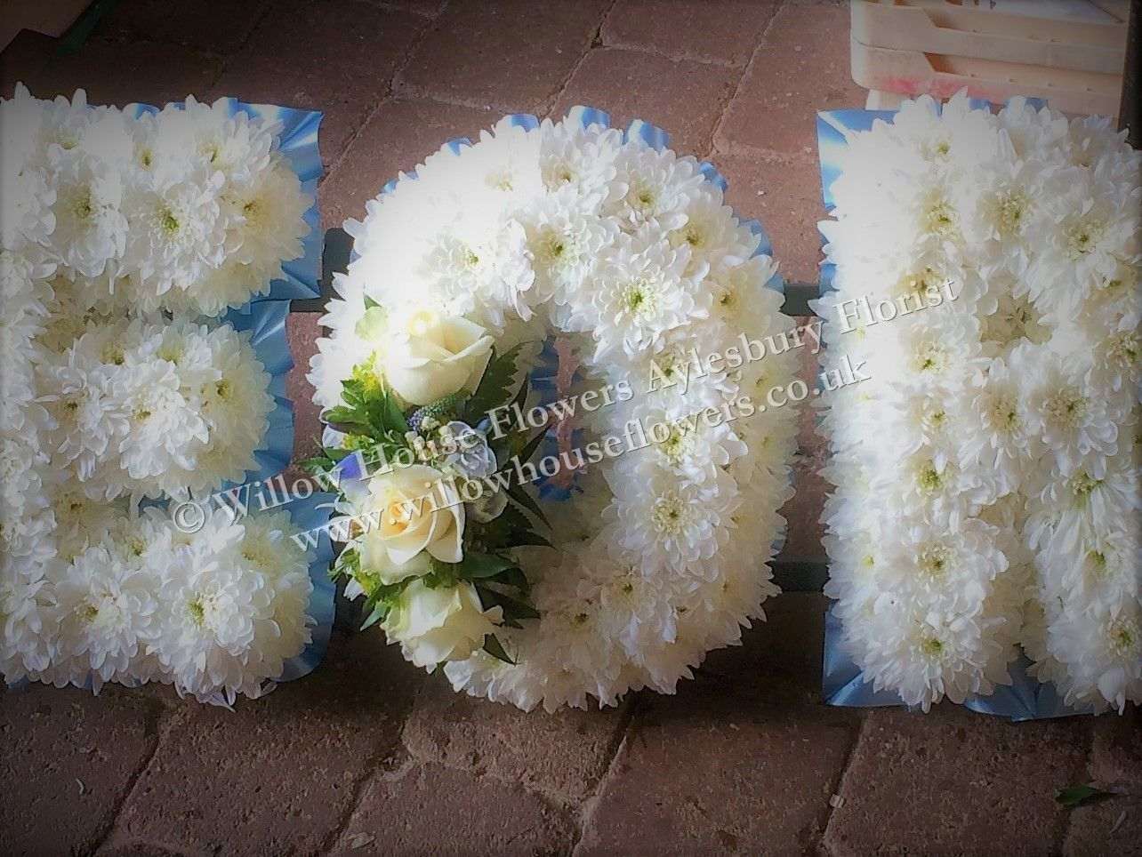 Funeral tribute letter chrysanthemum based with ribbon edging and funeral tribute letter chrysanthemum based with ribbon edging and rose flower sprays any single izmirmasajfo Images
