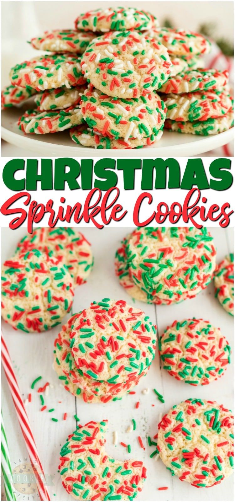 Christmas Sprinkle Cookies are sugar Cookies rolled in Christmas sprinkles for a special holiday treat! Delightfully soft & chewy Christmas cookies made with festive holiday sprinkles! #Christmas #sugarcookies #sprinkles #cookies #baking #holidays #neighborgifts #ChristmasCookies from FAMILY COOKIE RECIPES #holidaytreats