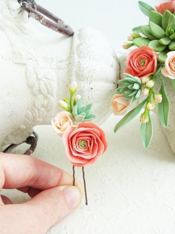 Peach Coral Green Succulent Flower Hair Pin Coral Peach Floral Pin Succulent Accessory Peach Wedd Floral Hair Pins Flower Hair Pin Flower Hair Pieces