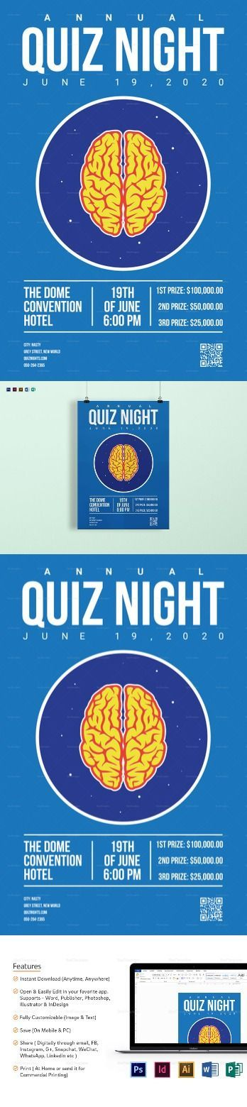 Quiz Night Poster Template Poster Templates Editable Printable