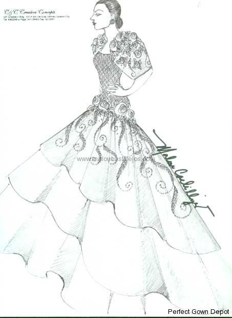 Filipiniana Gown Sketches Malou Castillejos   I Do Gowns   Pinterest ...