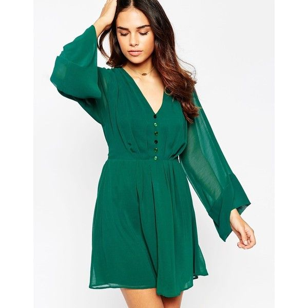 ASOS Skater Dress With Flared Sleeves (175 PEN) ❤ liked on Polyvore featuring dresses, forest green, v neck dress, asos, blue v neck dress, flared sleeve dress and skater dress