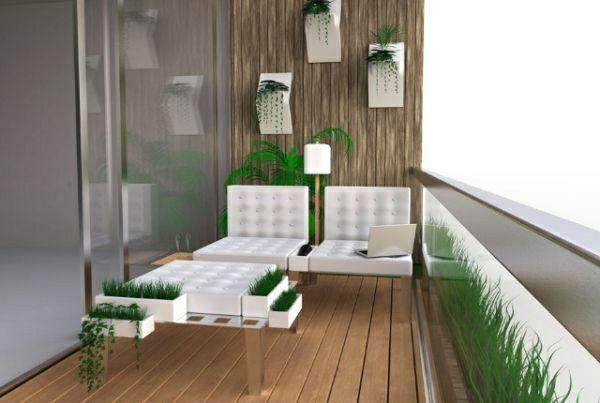 Moderne Balkongestaltung Mit Weißen Möbel Aus Leder   Outdoor ... Ideen Balkongestaltung Pflanzen