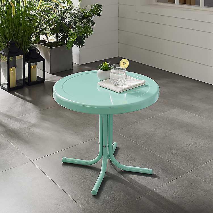 Aqua Retro Metal Outdoor Side Table In 2020 Metal Side Table