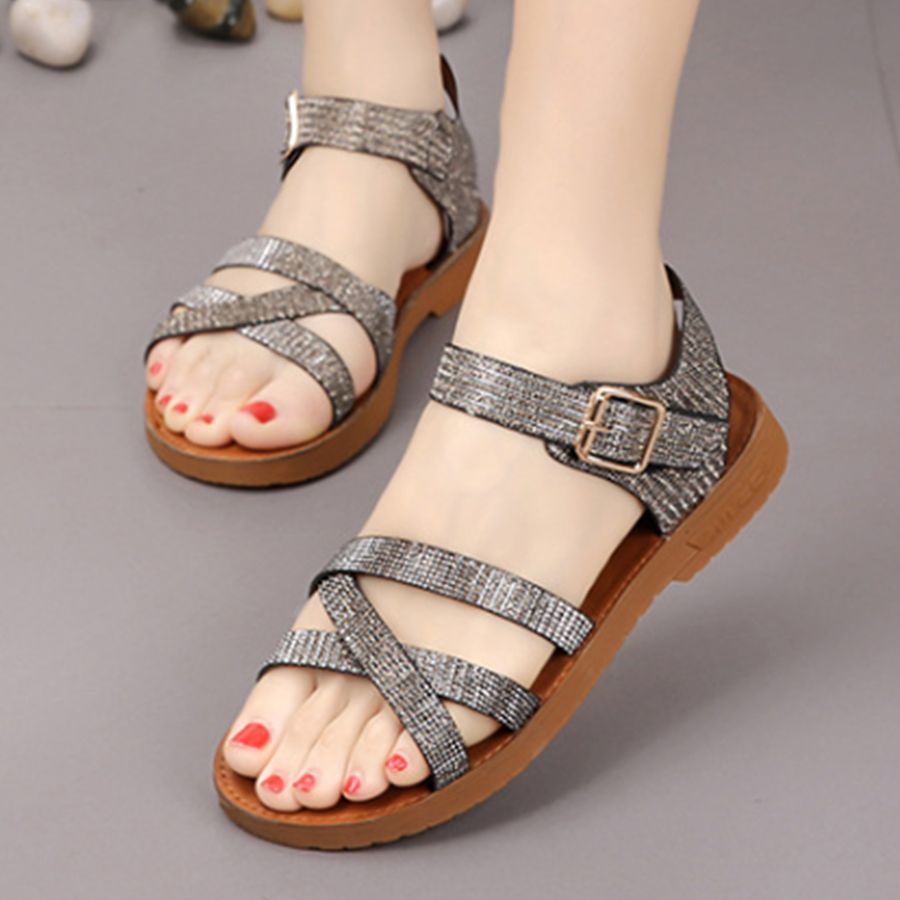 6eae900a1d99 Plain Flat Ankle Strap Peep Toe Casual Flat Sandals-Berrylook   CasualFlatSandals
