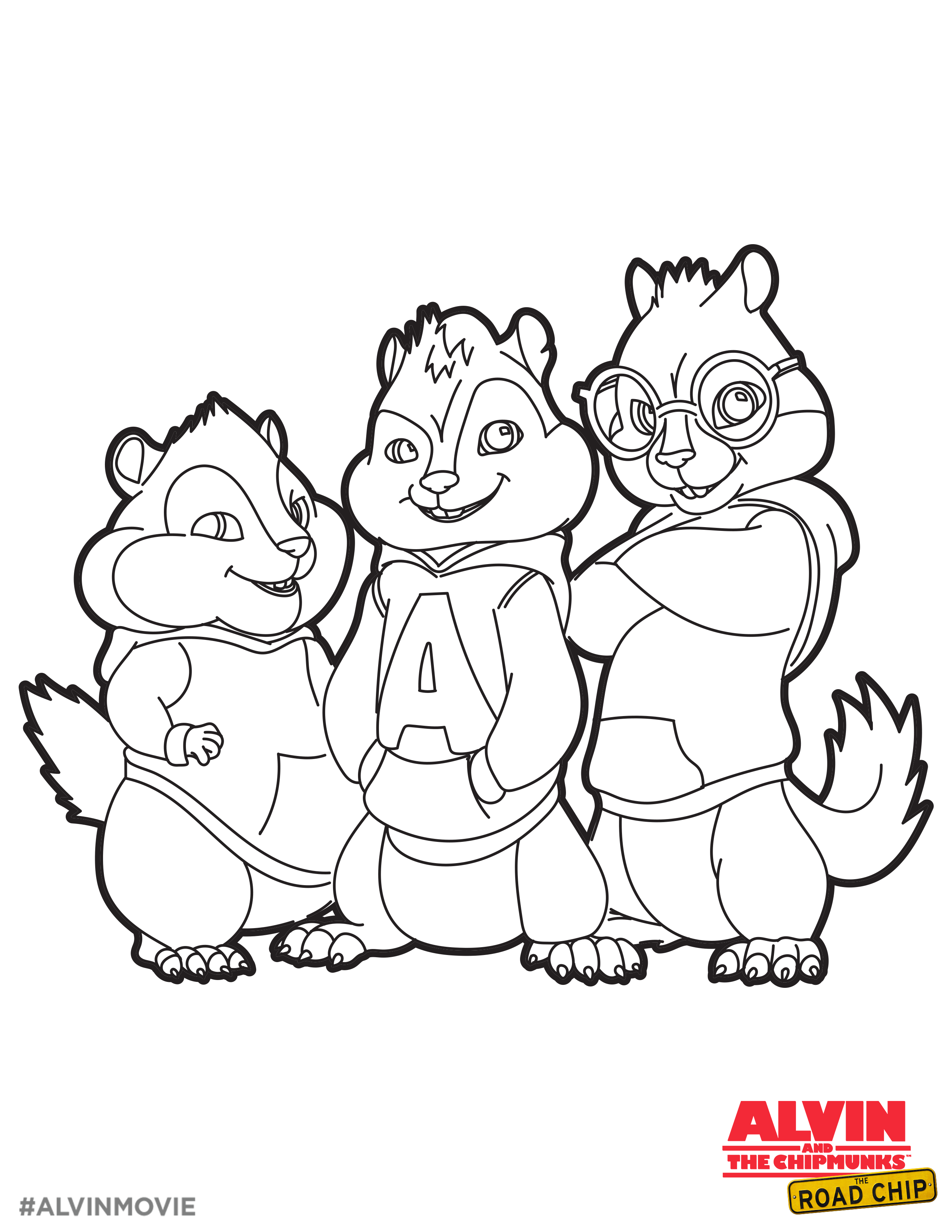 alvin and the chipmunks free coloring printable