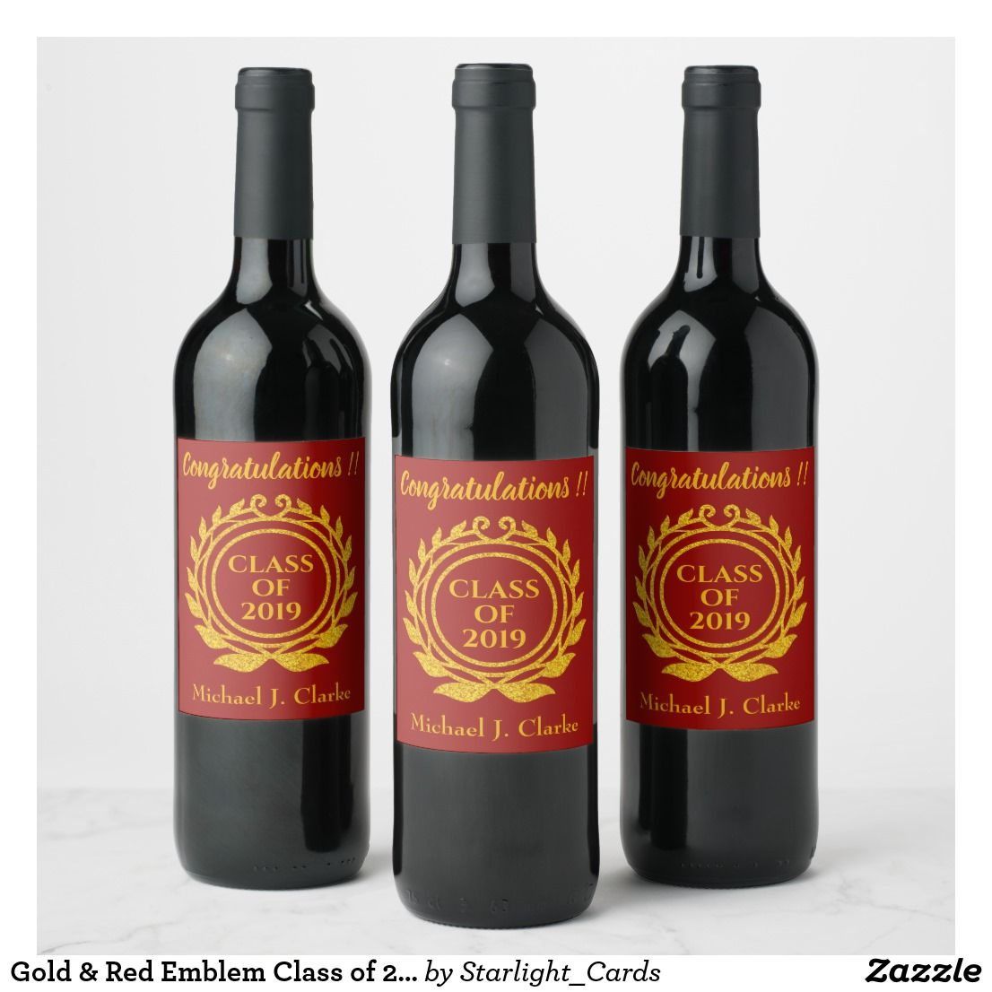 Gold Red Emblem Class Of 2019 Congratulations Wine Label Zazzle Com Wine Label Wine Label Gold Graduation Wine Labels