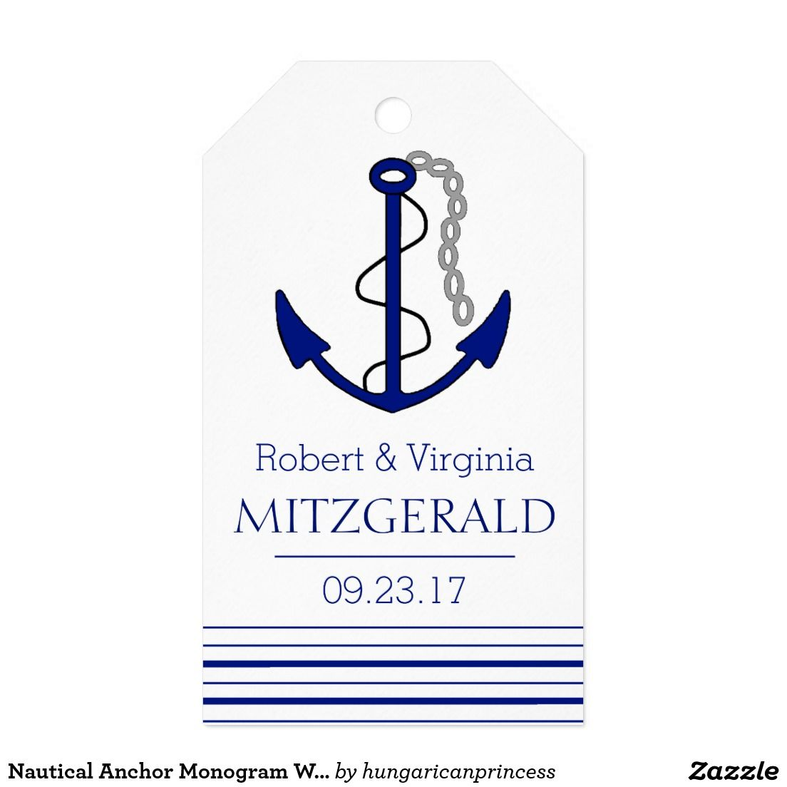 Nautical Anchor Monogram Wedding Guest Favor Pack Of Gift Tags ...