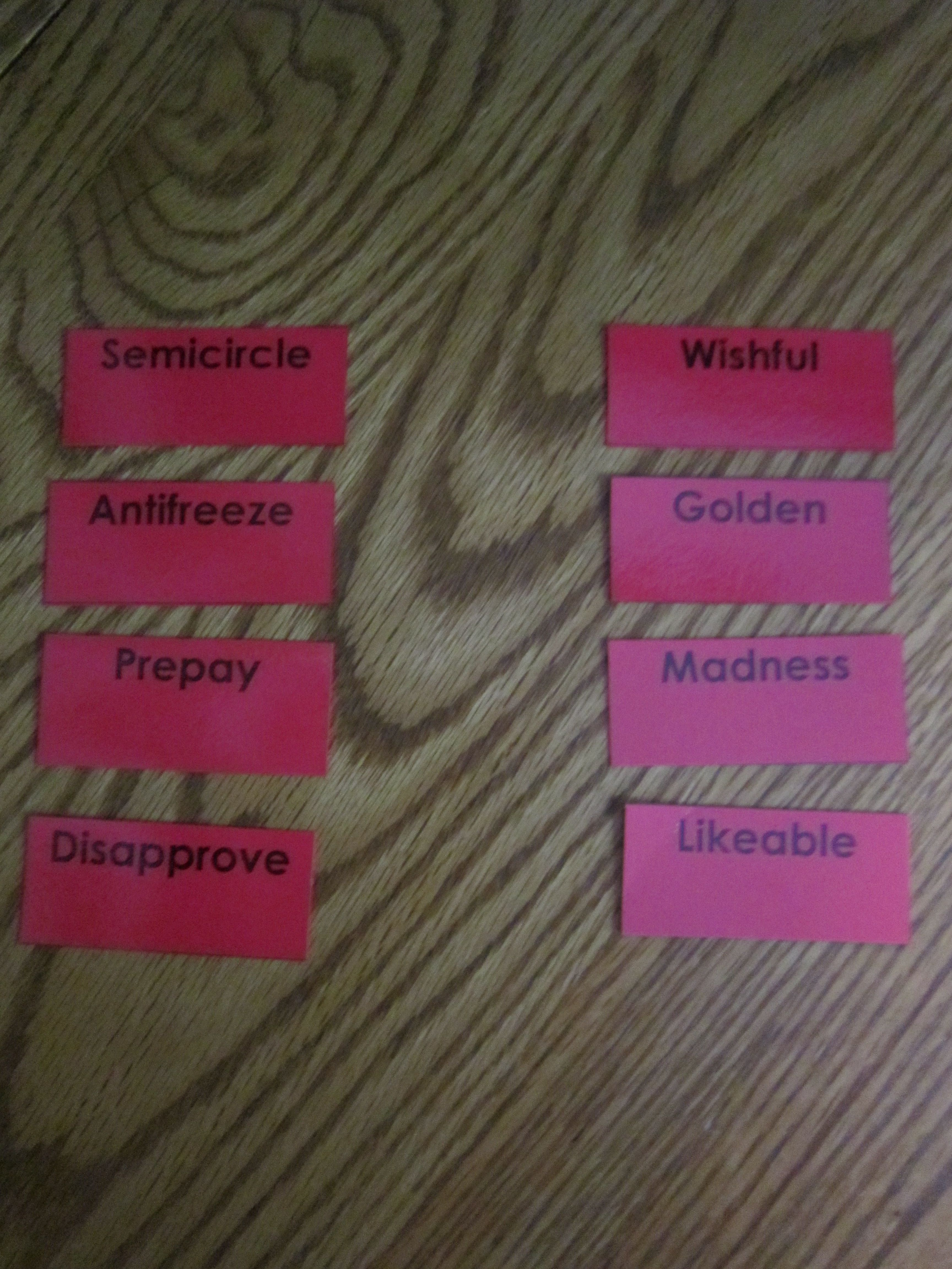 Prefix Suffix Pick Game Card Examples With Images