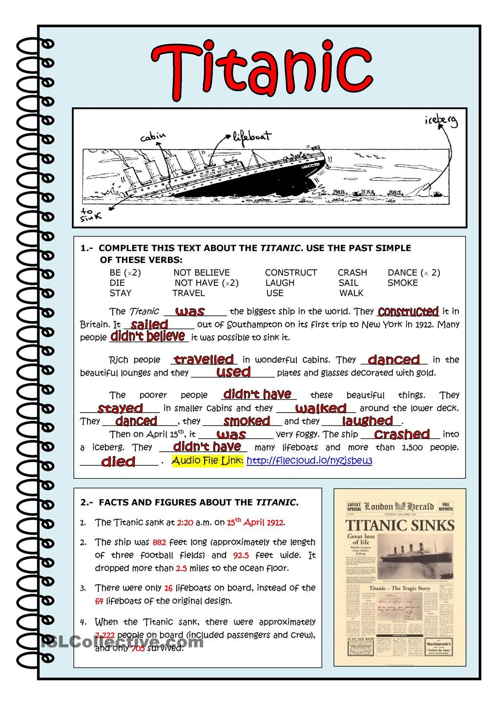 Titanic Reading Comprehension Worksheets Reading Comprehension Lessons Learn English