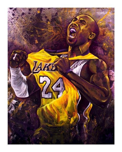 san francisco 467ad 09182 Kobe Bryant Painting Portrait Print by ARTbyMAG on Etsy,  35.00
