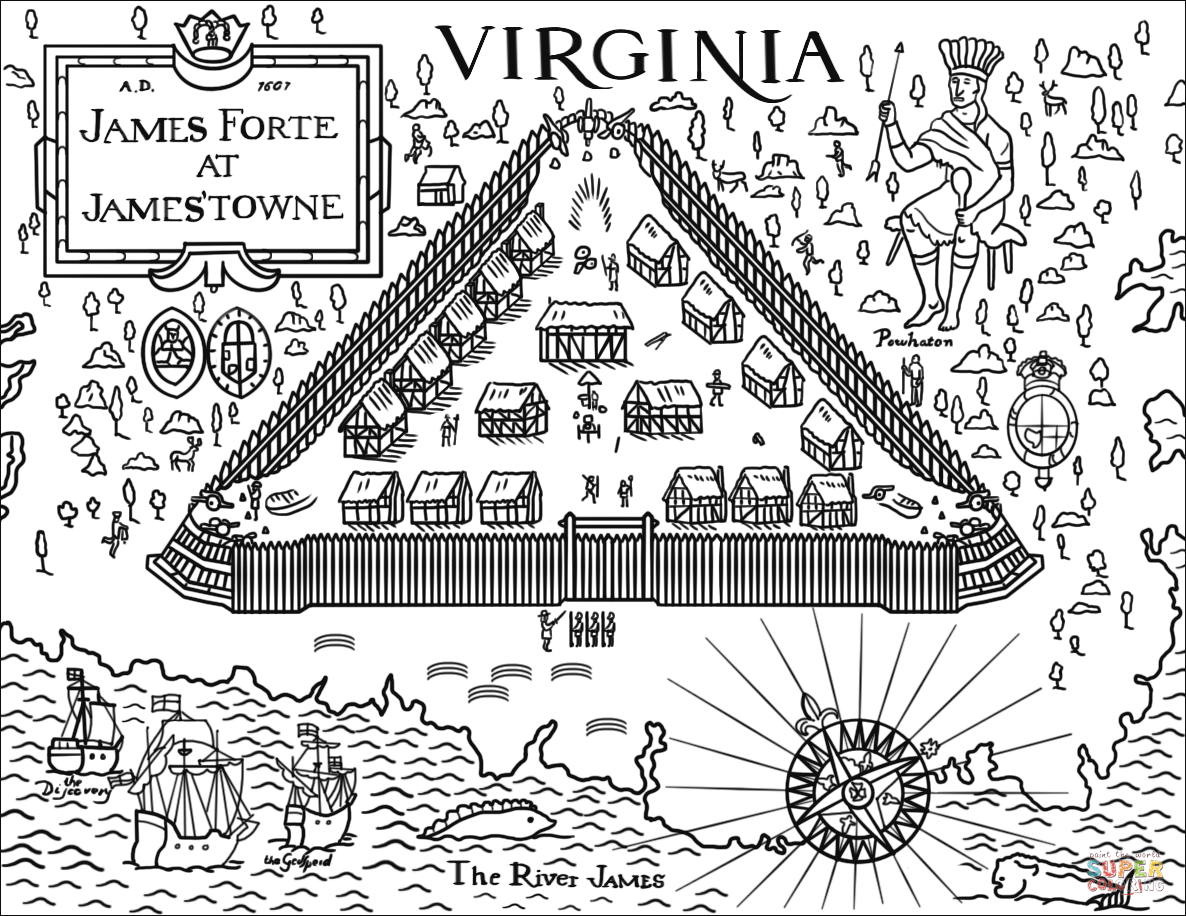 Jamestown Fort Coloring Page