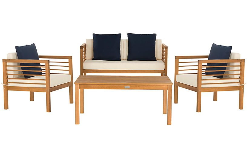 Awesome Perth 4 Pc Outdoor Lounge Set Navy White In 2019 Outdoor Unemploymentrelief Wooden Chair Designs For Living Room Unemploymentrelieforg