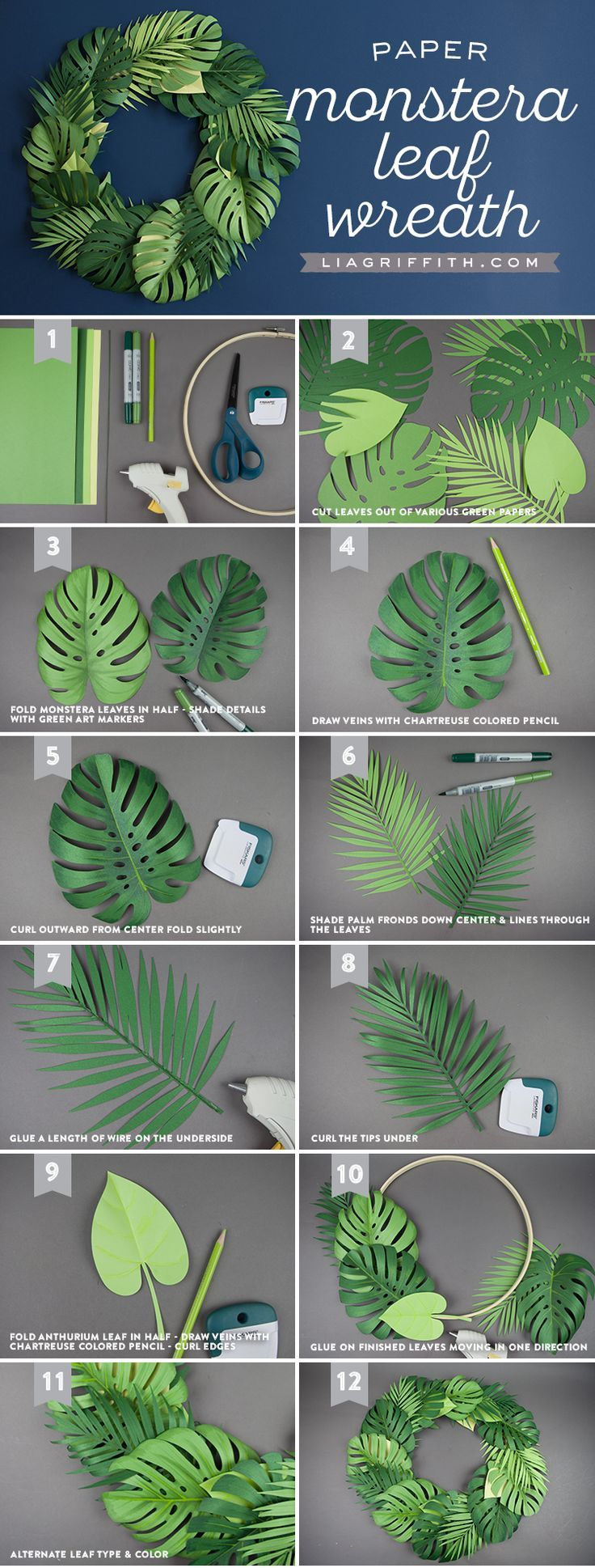 Spruce Up Your Summer: Quick & Easy Paper Monstera Leaf Wreath