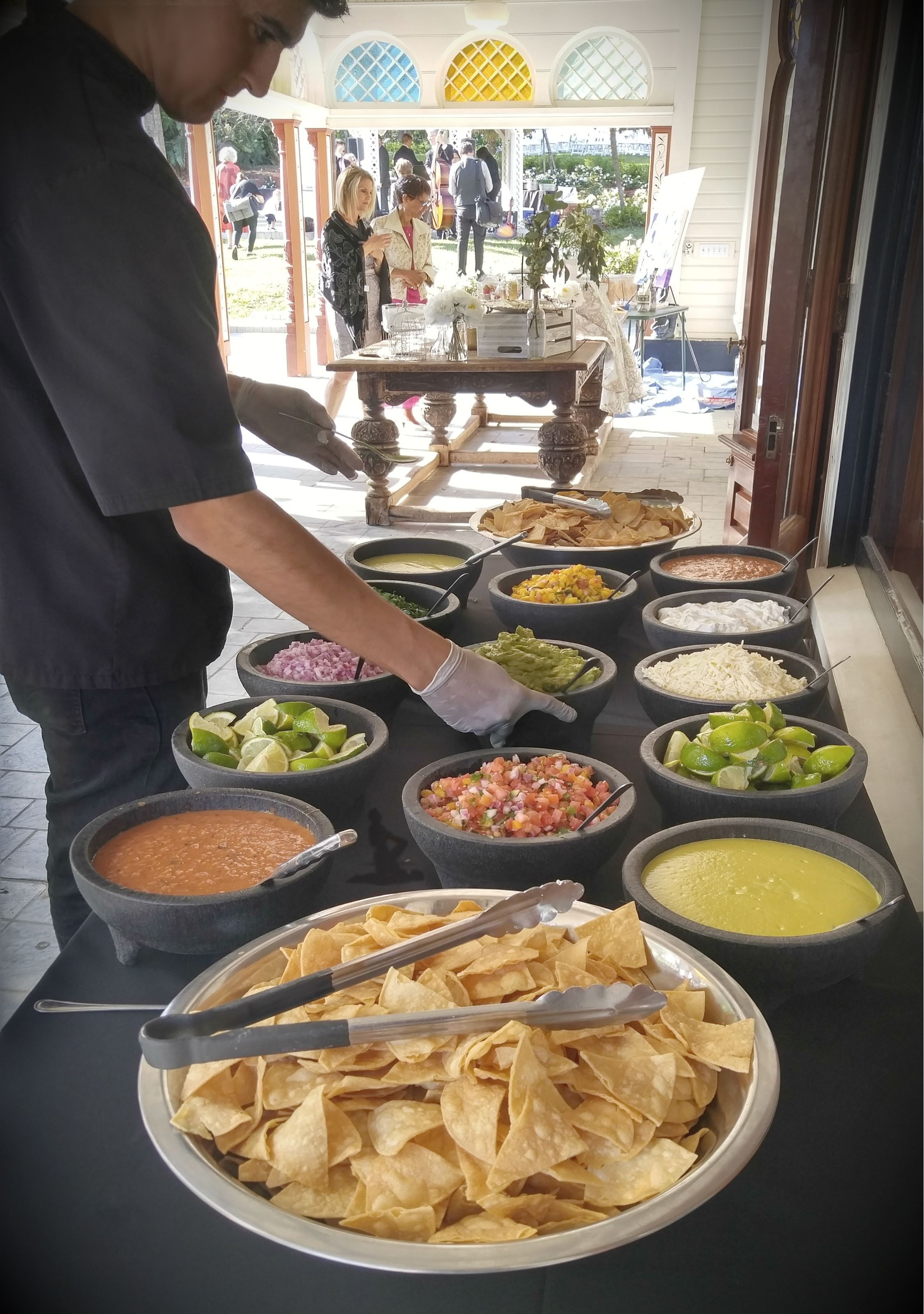A Beautiful Selection Of Salsas Condiments Last Saturday At Newhall Mansion With Images Taco Catering Taco Bar Wedding Wedding Food
