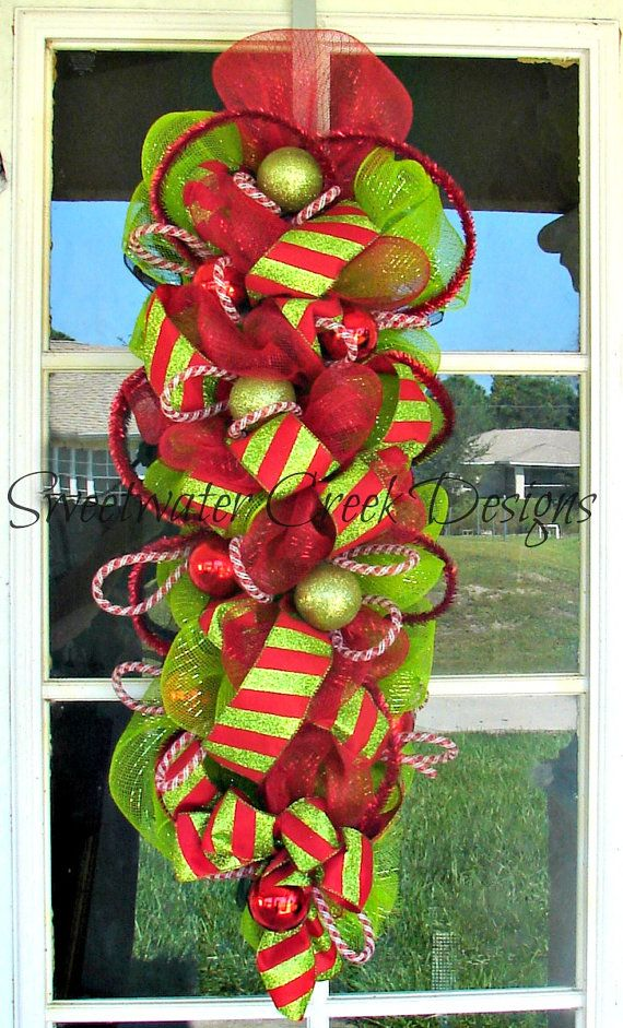 Lime Green and Red Christmas Deco Mesh Swag. $44.99, via Etsy.