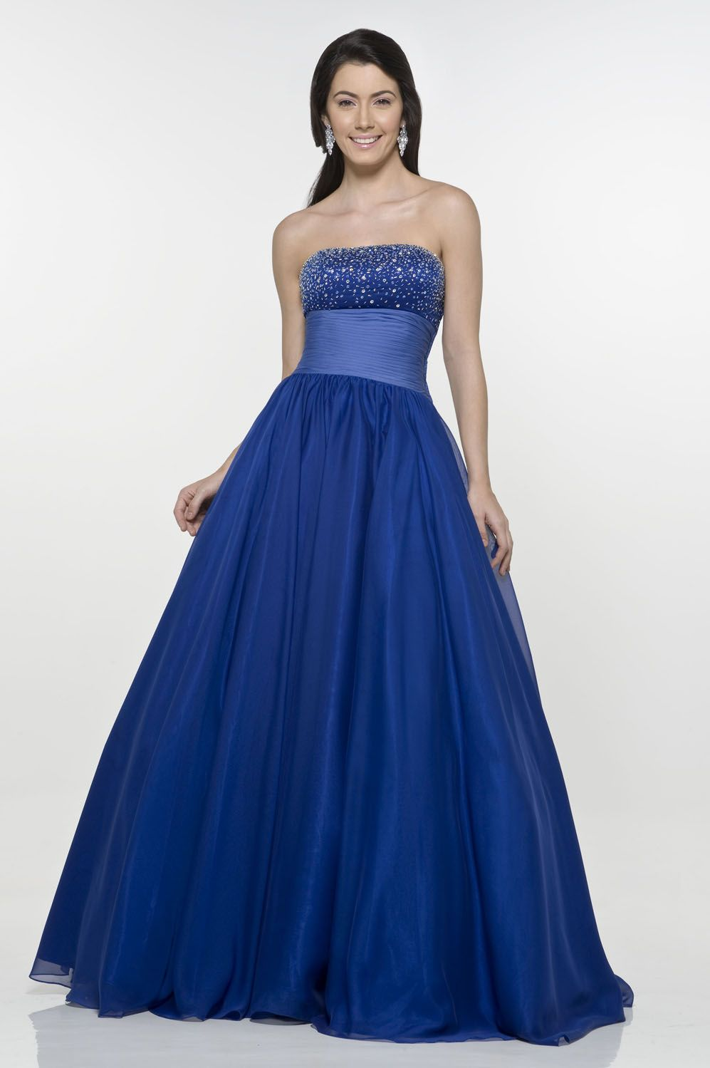 Wide band paillette lace up ball gown tulle satin floor length