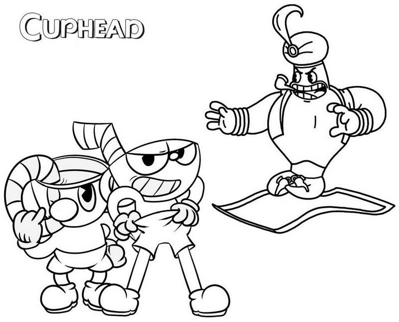 photo regarding Cuphead Coloring Pages Printable called Cups Mugman and Djimmi the Terrific Cuphead Coloring Web site