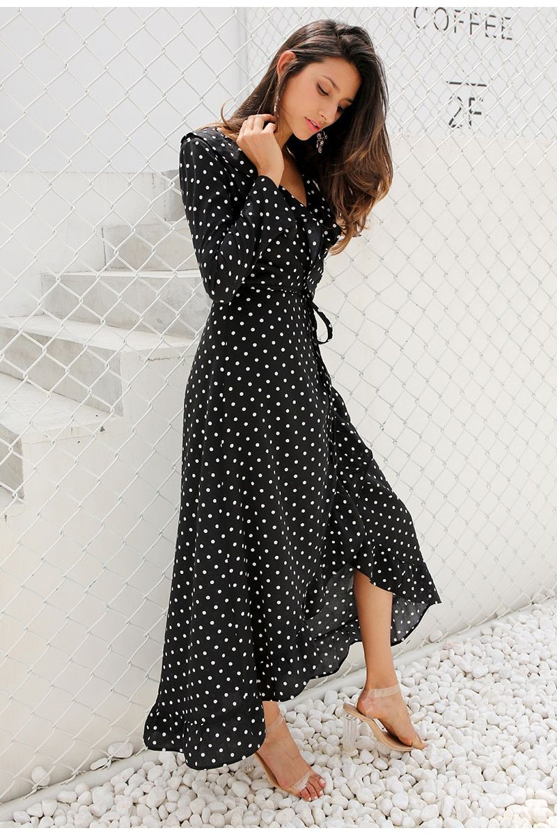 Black Polka Dot Split Long Sleeve Ruffle Wrap Long Dress Uniqistic Com Spring Dresses Casual Polka Dot Maxi Dresses Split Maxi Dress [ 1200 x 800 Pixel ]