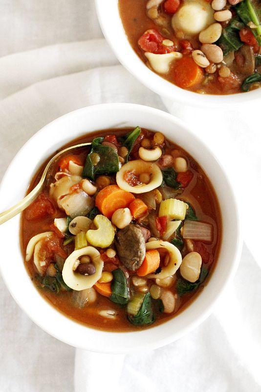 Hearty 13-Bean Slow Cooker Minestrone | girlversusdough.com @girlversusdough
