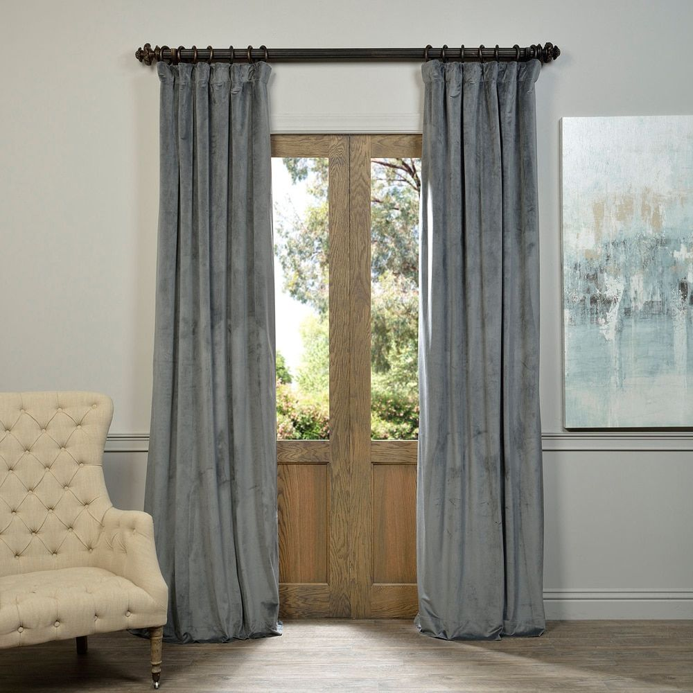 Exclusive Fabrics Natural Grey Velvet Blackout Curtain Panel