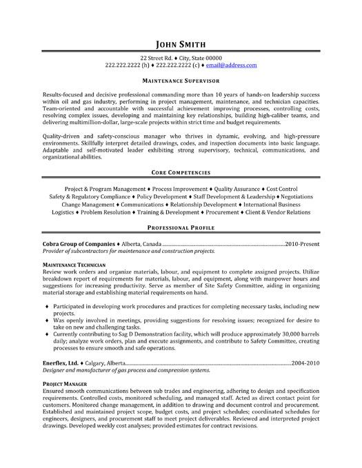 A resume template for a Maintenance Supervisor You can download - key competencies resume
