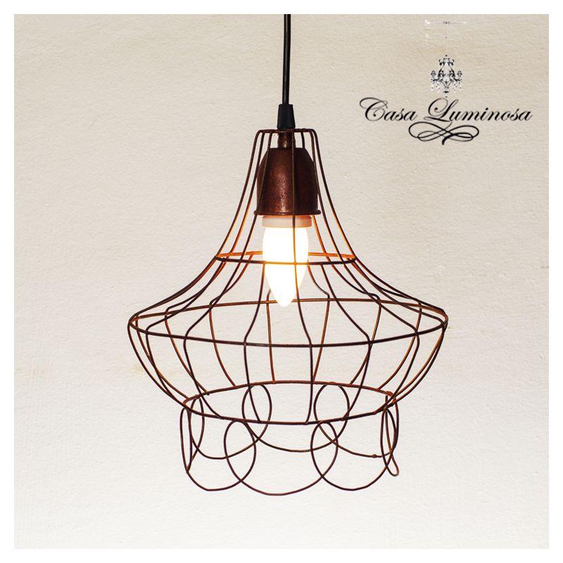 Casa luminosa lampara colgante vintage de alambre hierro - Lamparas de hierro ...