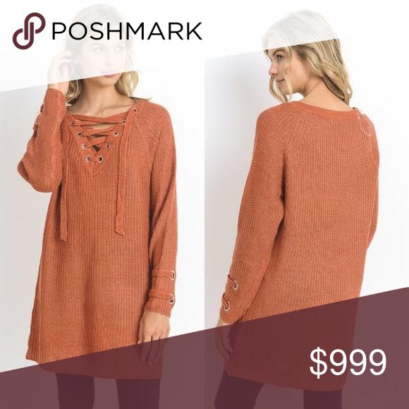 ef25514104a5 Chunky Knit Tunic Sweater New S M L Rust Orange Fall Winter Chunky Knit  Tunic Sweater New S M L