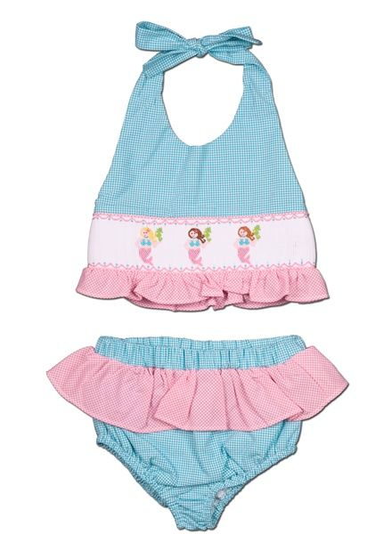 615bc235117ec Smocked mermaid swimsuit?? Too cute! | Under the sea party idea ...