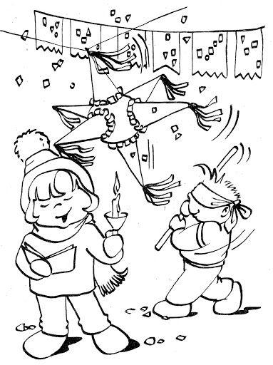 La Pinata Dibujo Para Colorear Posadas Navidenas Mexicana Manualidades Navidad Infantil Imagenes De Posadas Navidenas
