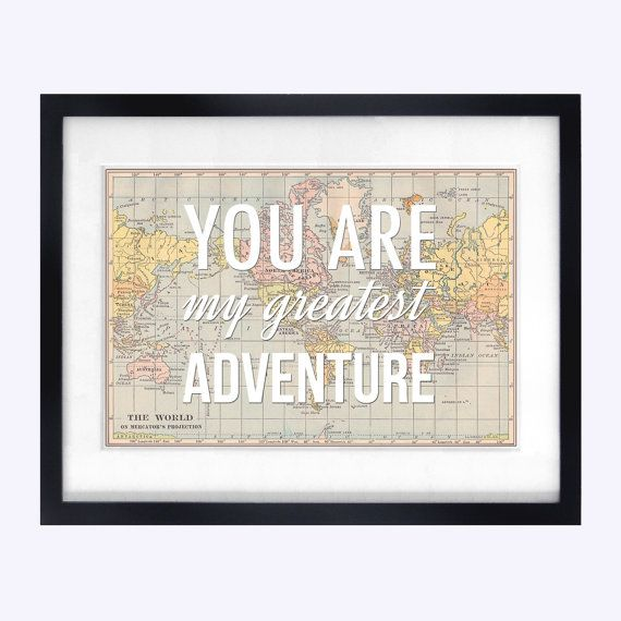You Are My Greatest Adventure, World Map Poster, Map Art, Wanderlust - copy rainbow world map canvas