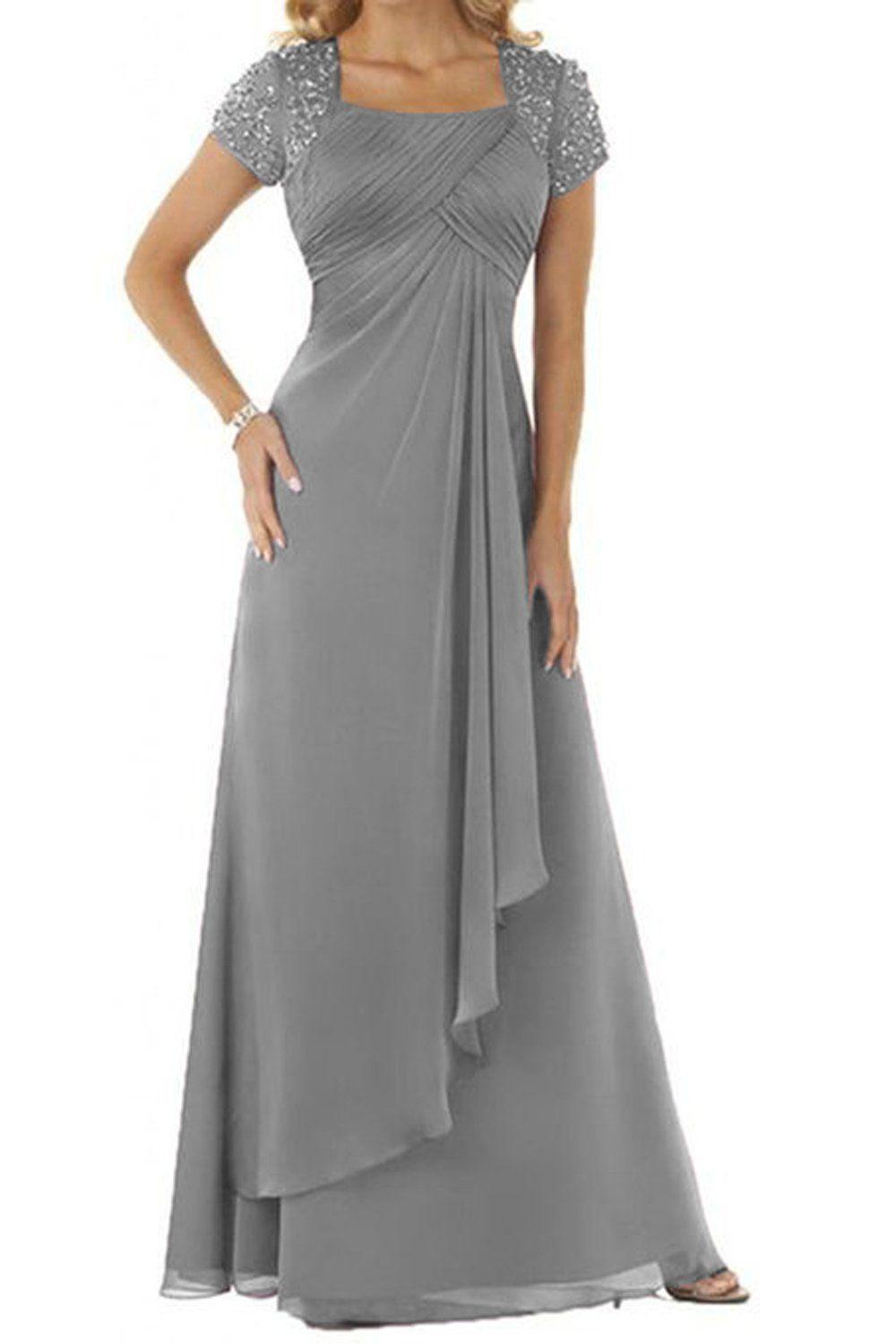 Maillsa Chiffon Square Mother Of Bride Dress With Rhinestones