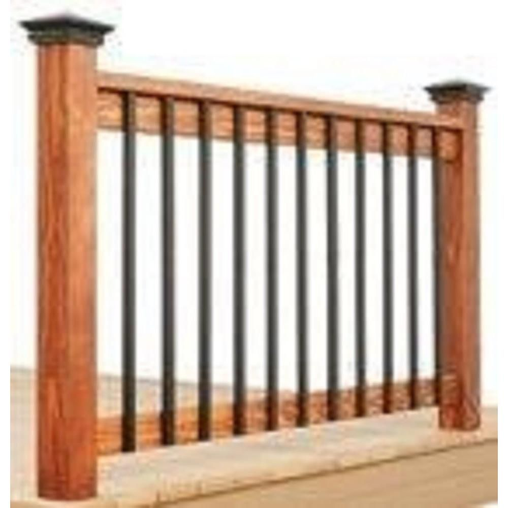 Best Pegatha 38 1 4 In X 1 In Black Aluminum Face Mount Rectangular Deck Railing Baluster 5 Pack 400 x 300