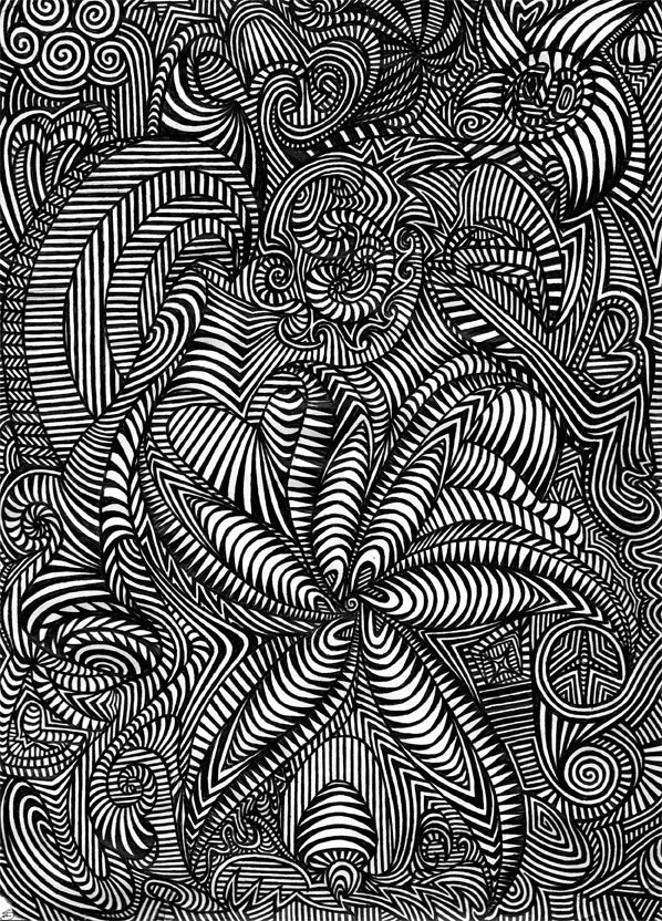 Flower, trippy black and white art, ink on paper, abstract ...