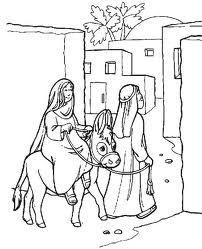 Joseph And Mary Traveled To Bethlehem Sunday School Coloring