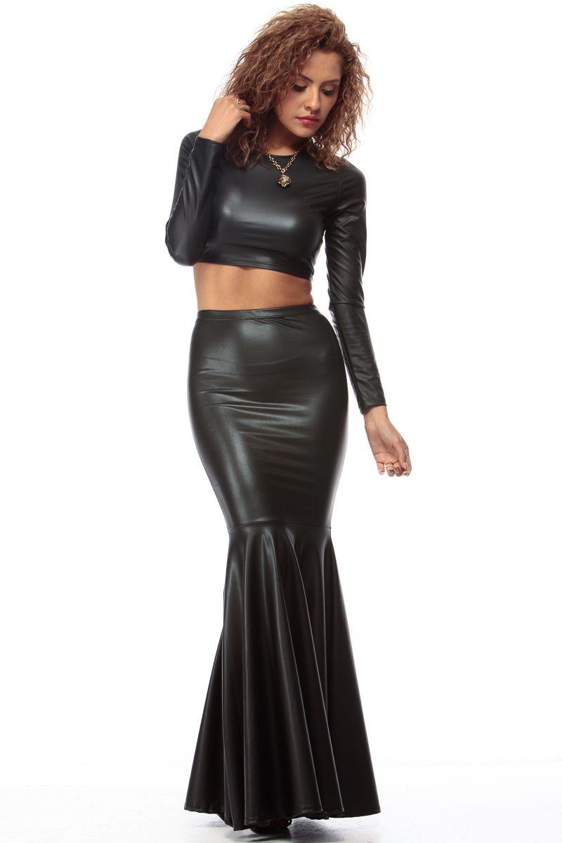 7de4243ba76 Black Faux Leather Mermaid Maxi Skirt   Cicihot sexy dresses