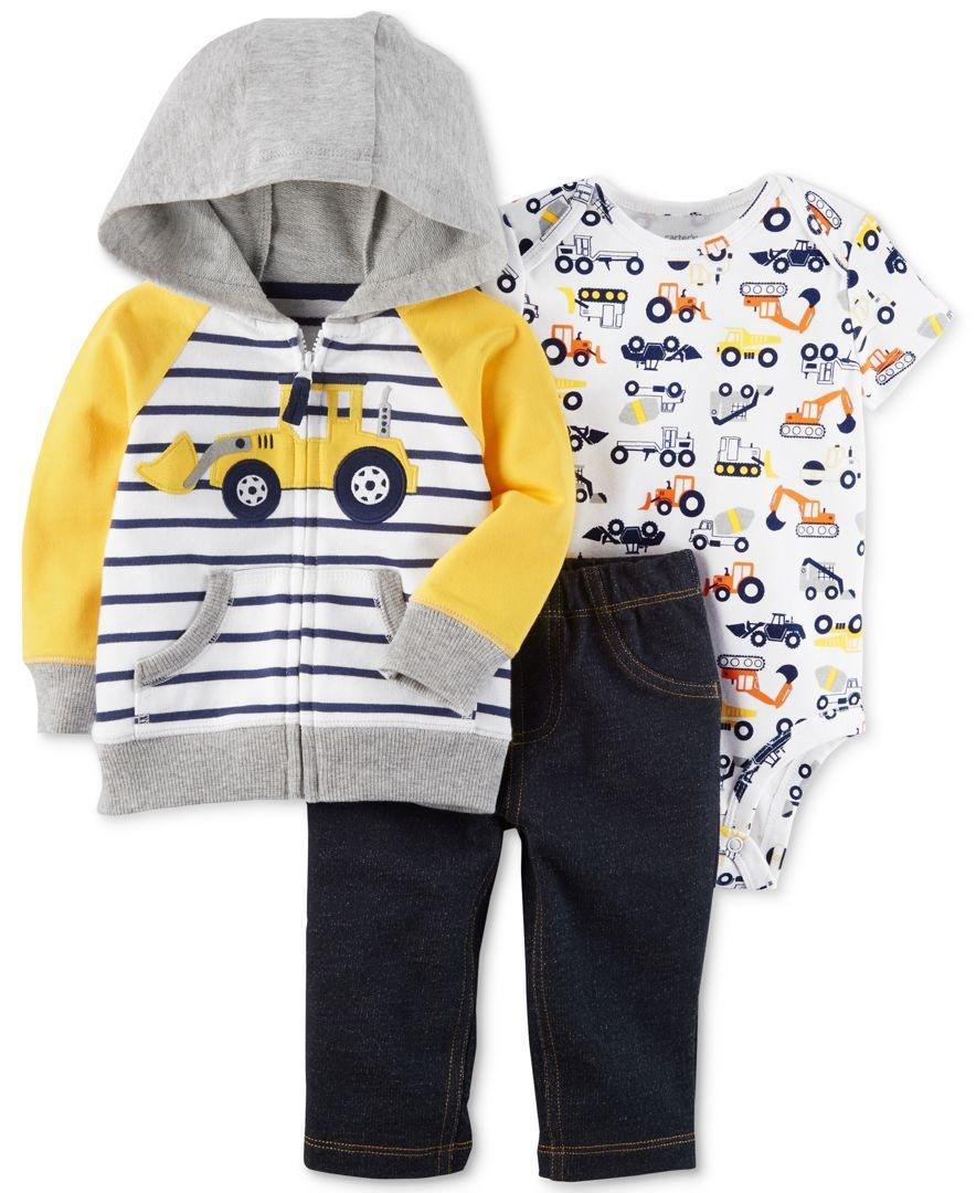 38e6209fd Carter's 3-Pc. Hoodie, Pants & Bodysuit Cotton Set, … | we love you ...