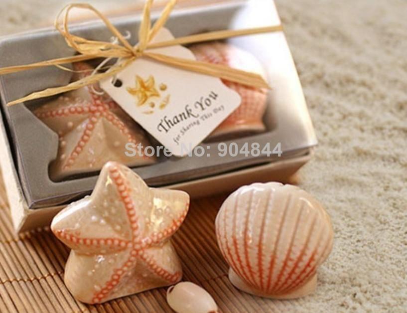 Sea Shells Shape Ceramic Salt Pepper Shaker Wedding Favors And Gifts