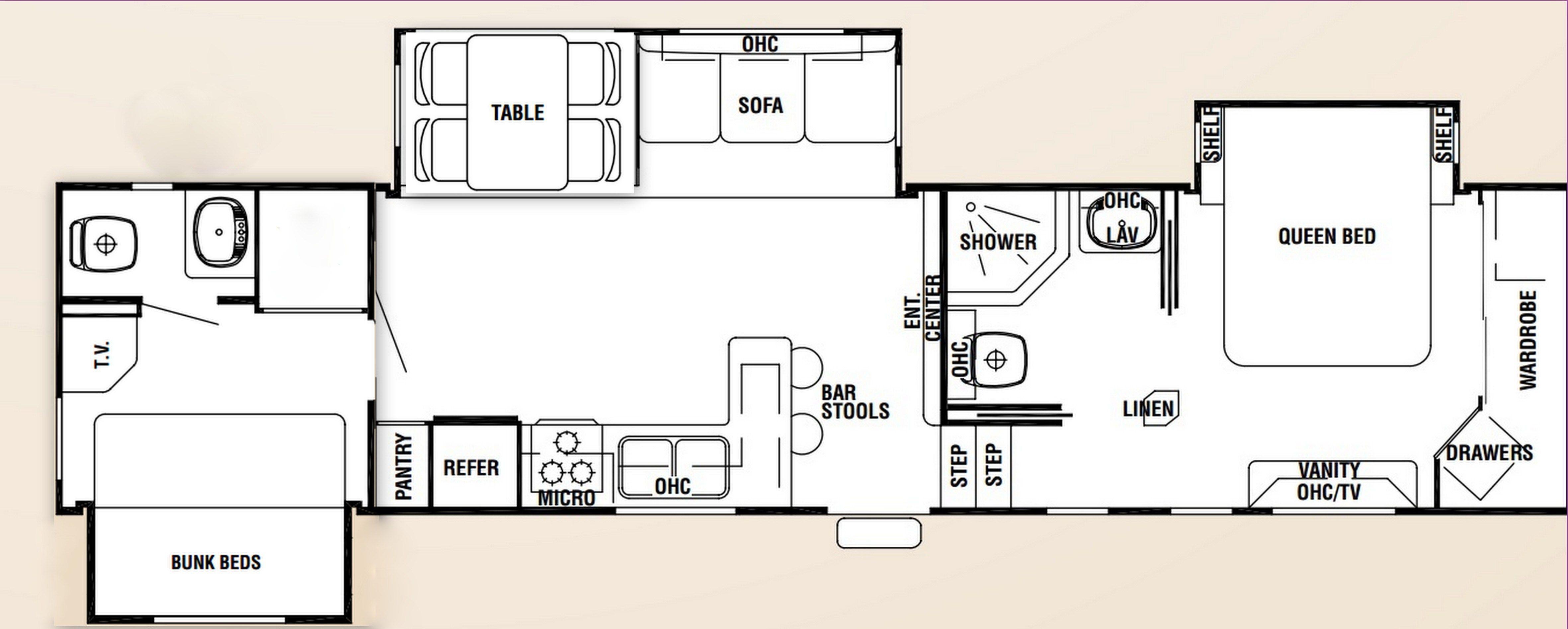 5th Wheel Floor Plans With 2 Bathrooms Rv Floor Plans Floor Plans Master Bedroom Interior Design