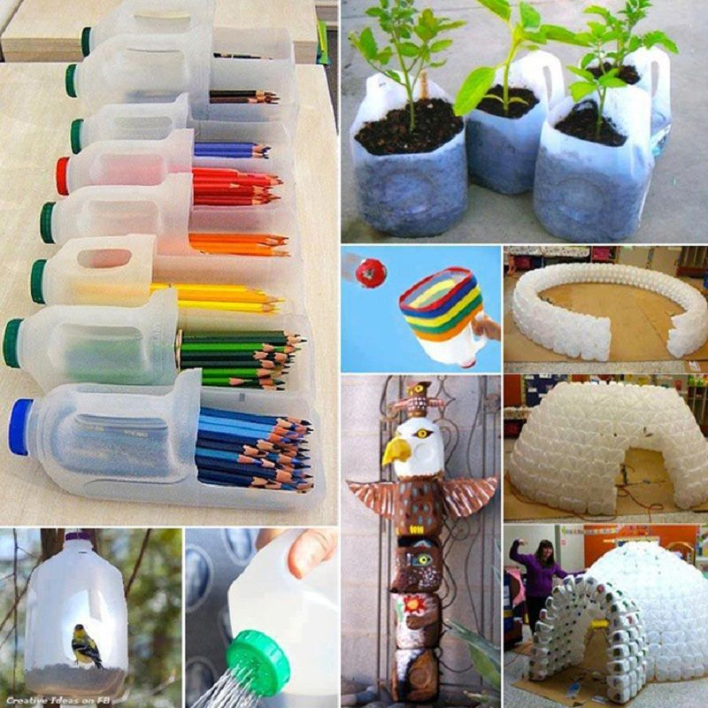 Waste material recycle bottle useful handicraft ideas for Craftwork from waste