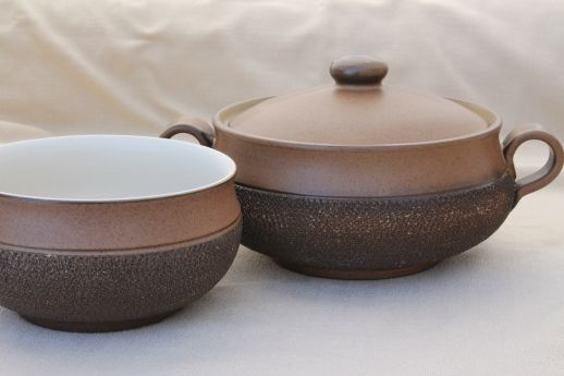 Vintage Denby Cotswold brown pottery vegetable bowl covered soup tureen : denby cotswold dinnerware - pezcame.com
