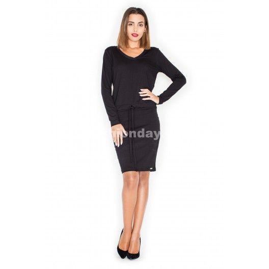 47ed68a588ac Moderné dámske šaty čierne s dlhým rukávom - fashionday.eu