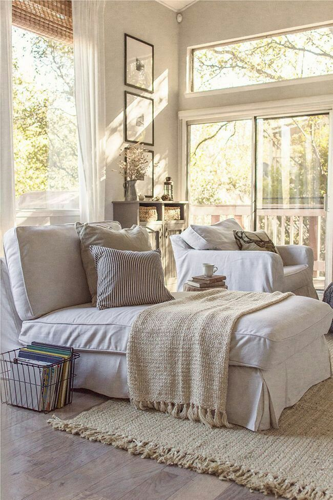 Book basket, high ceiling, muted colors, reading chaise | small ...