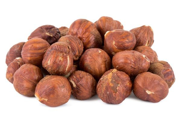 Closeup of a heap of hazelnuts