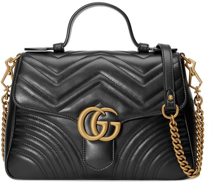 Photo of Gucci Black GG Marmont Small Top Handle Bag – Farfetch
