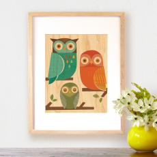 Petit Collage Owl Trio Print on Wood