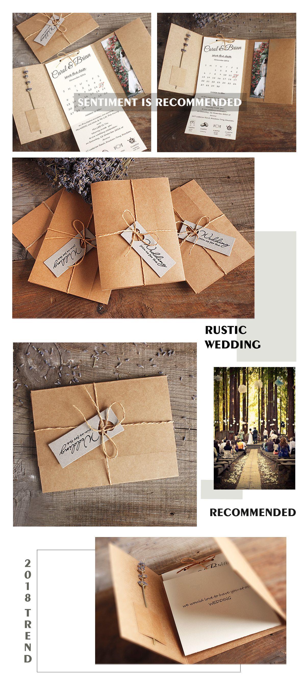 Kraft Paper Invitations Kraft Pocket Wedding Invitations Rustic Wedding Invites Cust Pocket Wedding Invitations Custom Wedding Invitations Wedding Invitations