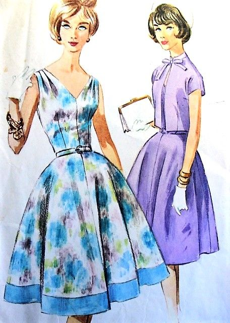 1960s LOVELY Full Skirt Dress and Bolero Jacket Pattern McCALLS 5887 Flattering Fitted Bodice Day or Party Easy To Make Bust 36 Vintage Sewing Pattern